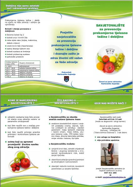Letak Savjetovališta za prevenciju prekomjerne tjelesne težine